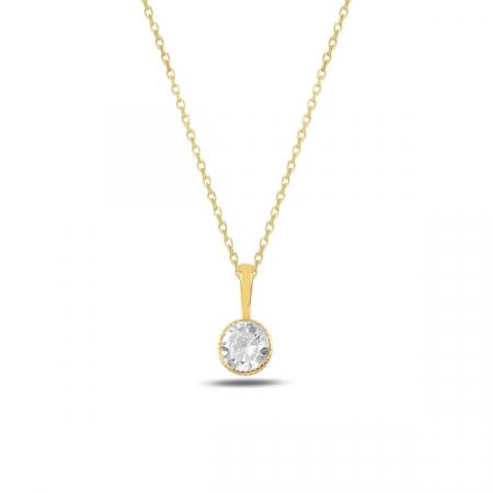 Colier argint aurit cu zirconiu alb placat cu aur galben - CTU0096