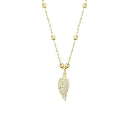 Colier argint cu aripa de inger si zirconii placat cu aur