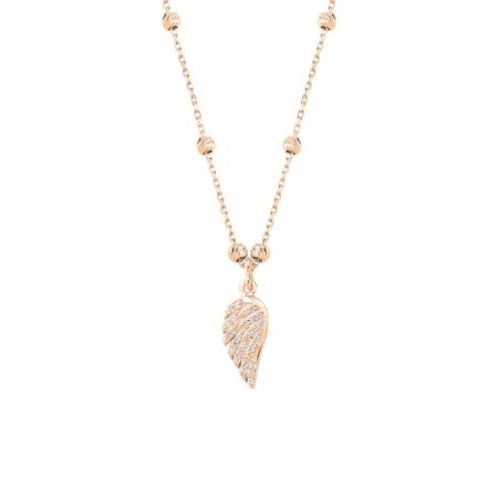 Colier argint cu aripa de inger si zirconii placat cu aur roz
