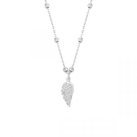 Colier argint cu aripa de inger si zirconii placat cu rodiu