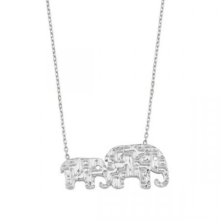Colier argint cu elefanti, placat cu rodiu