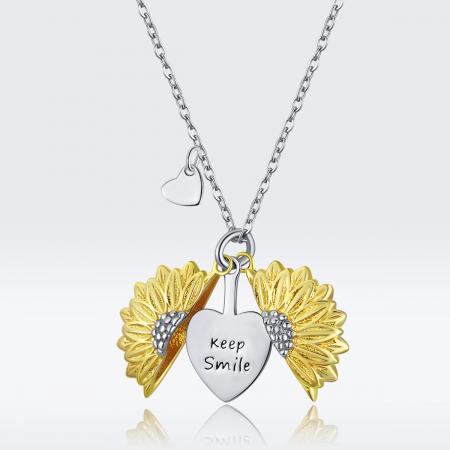 Colier argint cu floarea soarelui, inimioare si mesaj pozitiv7