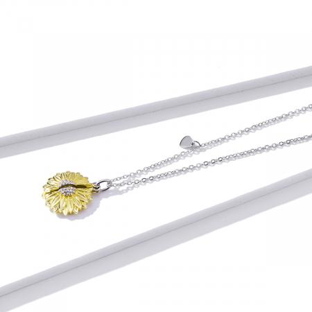 Colier argint cu floarea soarelui, inimioare si mesaj pozitiv2
