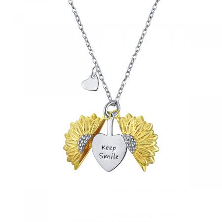 Colier argint cu floarea soarelui, inimioare si mesaj pozitiv