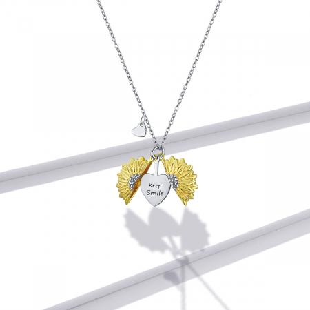 Colier argint cu floarea soarelui, inimioare si mesaj pozitiv6