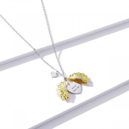 Colier argint cu floarea soarelui, inimioare si mesaj pozitiv3