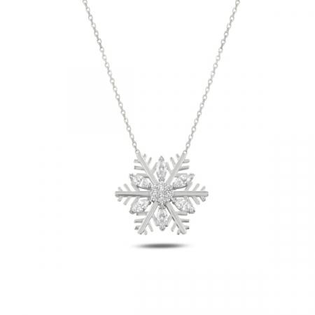 Colier argint  cu fulg de zapada si zirconii albe, placat cu rodiu - CTU0108