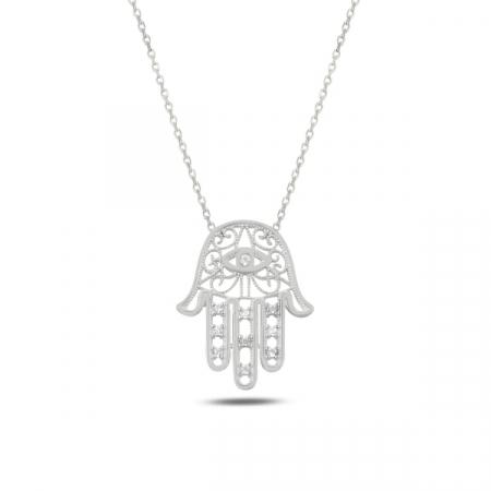 Colier argint cu Hamsa Mana lui Fatima si zirconii albe, placat cu rodiu - CTU0107