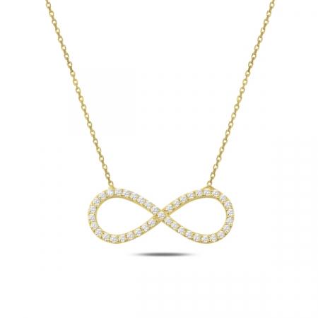 Colier argint  cu infinit si zirconii albe, placat cu aur  - CTU0105