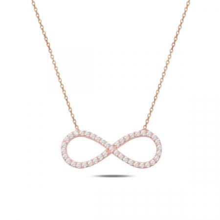Colier argint  cu infinit si zirconii albe, placat cu aur roz - CTU0106