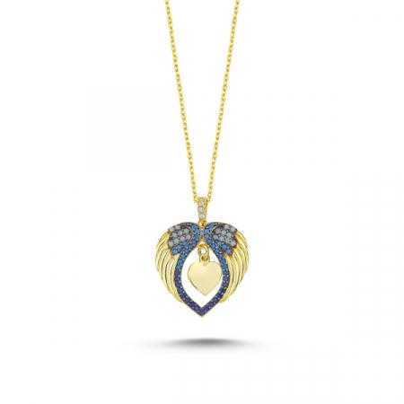 Colier argint cu inima și aripi de inger, cu zirconii de nuanțe albastre placat cu aur
