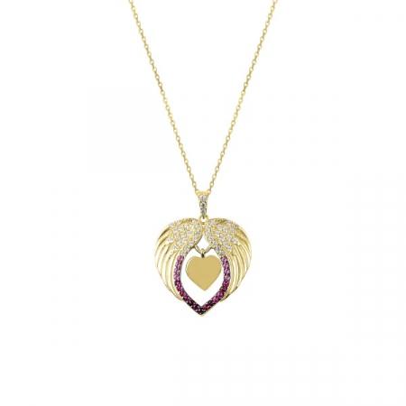 Colier argint cu inima și aripi de inger, cu zirconii de nuanțe roz placat cu aur