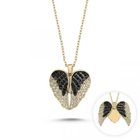 Colier argint cu inima si aripi de inger mobile, cu zirconii placat cu aur [1]