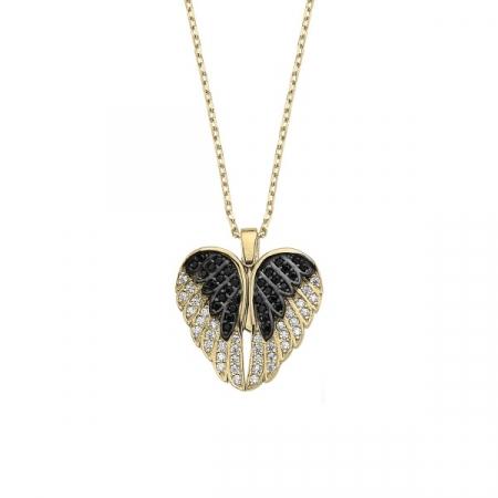 Colier argint cu inima si aripi de inger mobile, cu zirconii placat cu aur