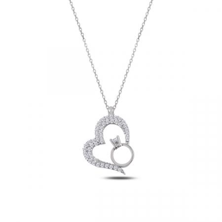 Colier argint cu inima si inel cu zirconii albe placat cu rodiu - CTU0102