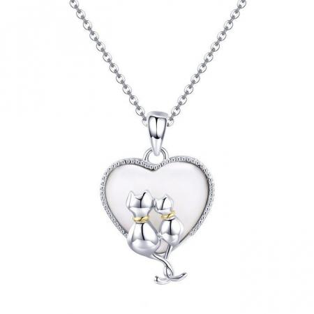 Colier argint cu  inimioara si pisicute indragostite