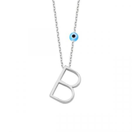 Colier argint cu pandantiv litera B placat cu rodiu