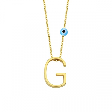 Colier argint cu pandantiv litera G placat cu aur