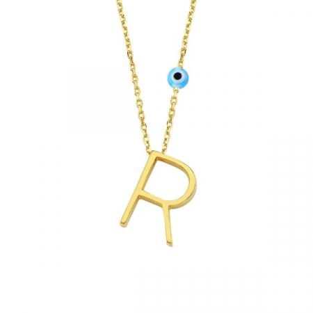 Colier argint cu pandantiv litera R placat cu aur