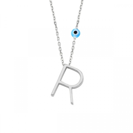 Colier argint cu pandantiv litera R placat cu rodiu