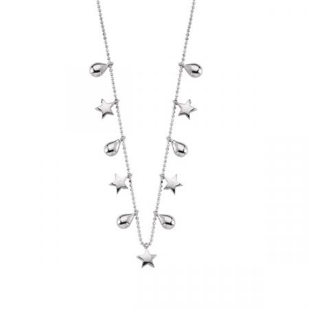 Colier argint cu pandantive in forma de steluta si picatura placat cu rodiu