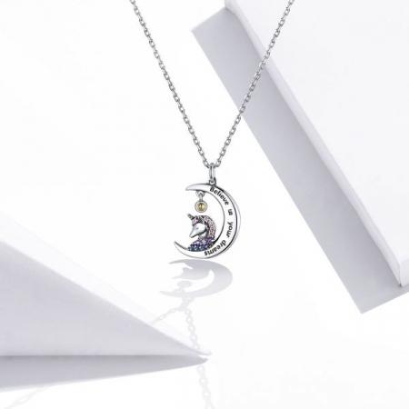 Colier argint cu unicorn, semiluna si zirconii, cu lant reglabil1
