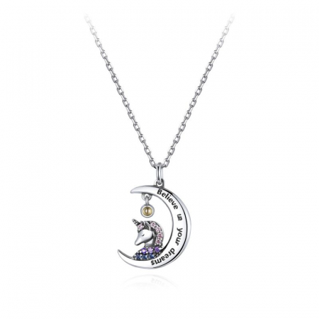 Colier argint cu unicorn, semiluna si zirconii, cu lant reglabil