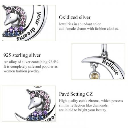 Colier argint cu unicorn, semiluna si zirconii, cu lant reglabil4