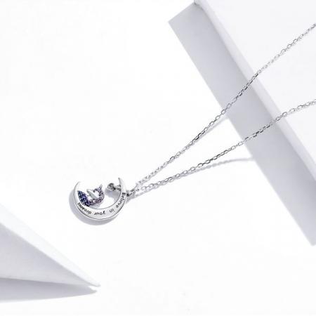 Colier argint cu unicorn, semiluna si zirconii, cu lant reglabil2