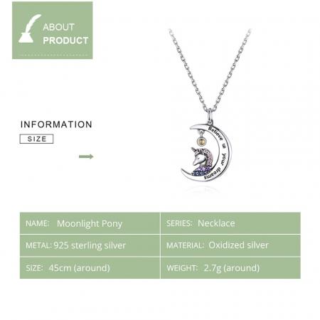 Colier argint cu unicorn, semiluna si zirconii, cu lant reglabil7