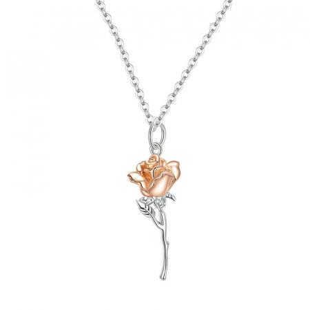Colier argint cu trandafir 3D