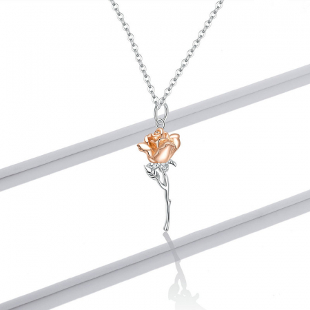 Colier argint cu trandafir 3D7