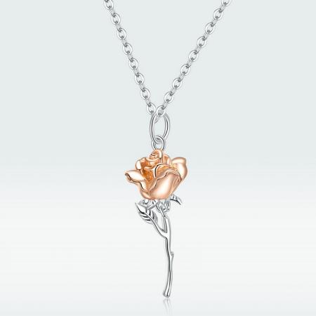 Colier argint cu trandafir 3D12