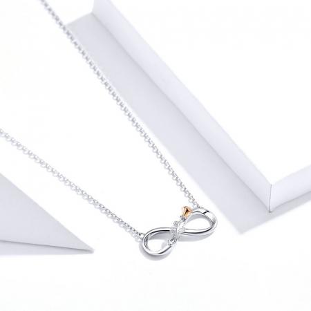 Colier argint Dragoste Infinită, cu Infitit si Trandafir auriu2