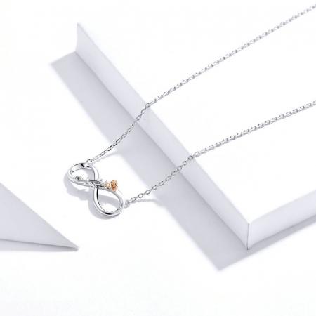 Colier argint Dragoste Infinită, cu Infitit si Trandafir auriu5
