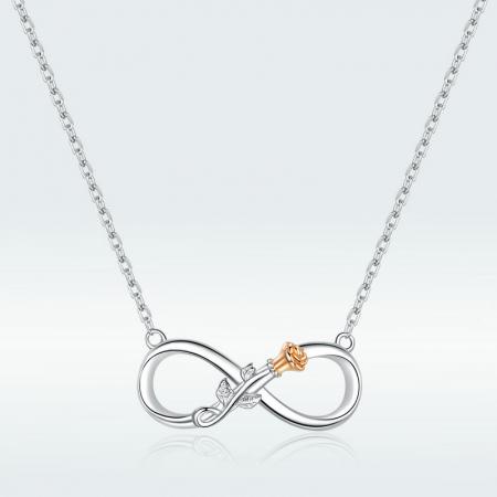 Colier argint Dragoste Infinită, cu Infitit si Trandafir auriu3