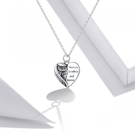 Colier argint Dragoste Infinita cu inimioara si aripa de inger6