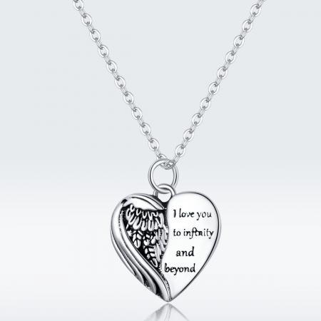 Colier argint Dragoste Infinita cu inimioara si aripa de inger8