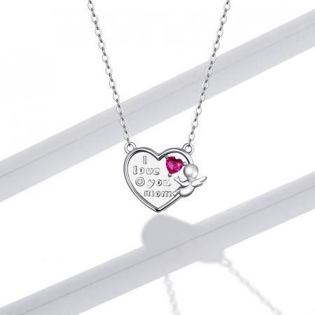 Colier argint Dragoste pentru Mama cu Ingeras si zirconii5