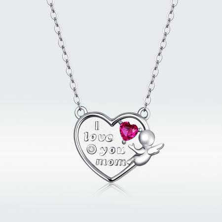 Colier argint Dragoste pentru Mama cu Ingeras si zirconii6