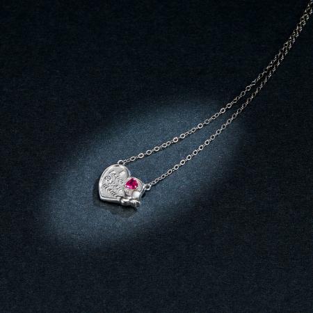 Colier argint Dragoste pentru Mama cu Ingeras si zirconii4
