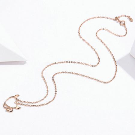 Colier argint Dragoste Periculoasa placat cu aur roz4