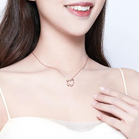 Colier argint Dragoste Periculoasa placat cu aur roz5