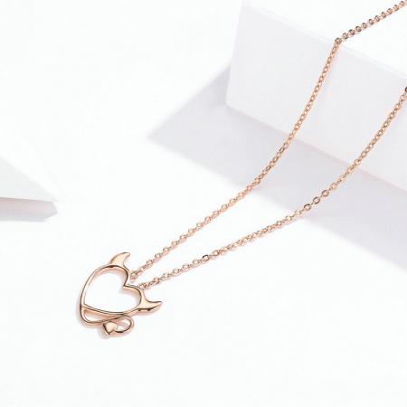 Colier argint Dragoste Periculoasa placat cu aur roz1