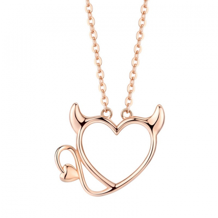 Colier argint Dragoste Periculoasa placat cu aur roz