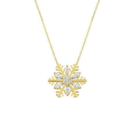 Colier argint fulg de zăpadă cu zirconii placat cu aur