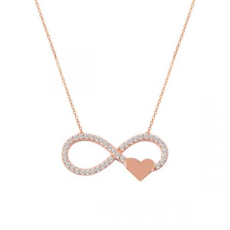 Colier argint Infinity cu inima si zirconii placat cu aur roz