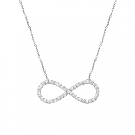 Colier argint Infinity cu zirconii placat cu rodiu