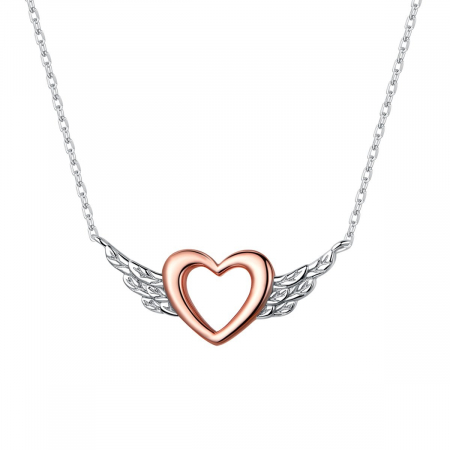 Colier argint Inima cu Aripi de Inger placat cu platina si aur roz
