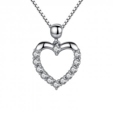 Colier argint inimioara cu zirconii